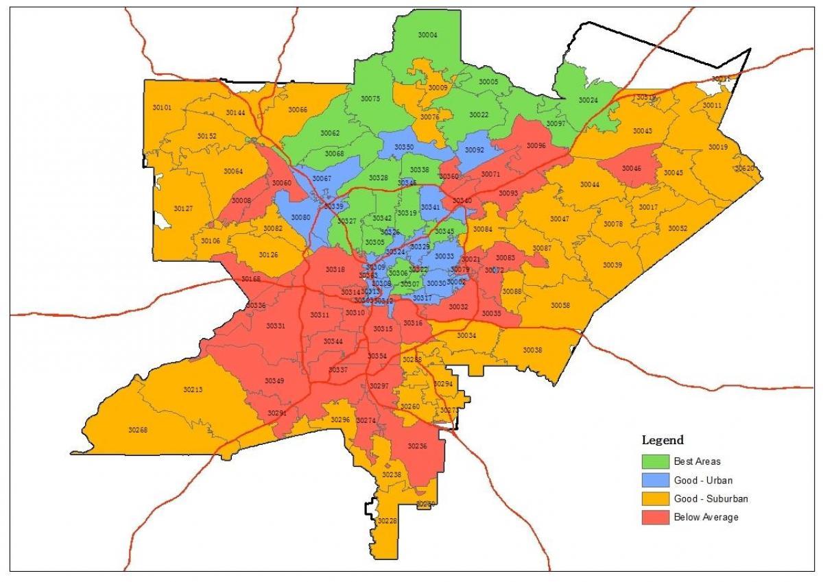 postnummer karta Postnummer karta Atlanta   området postnummer karta (Usa) postnummer karta
